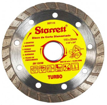 DISCO DE CORTE DIAMANTADO TURBO 110MM STARRET DDT110