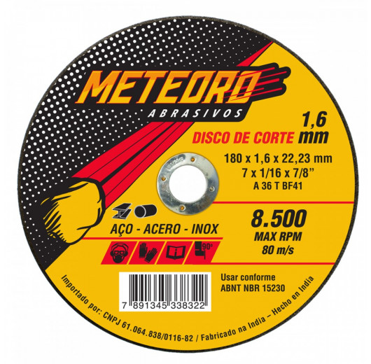 DISCO DE CORTE T41-180X1.6X22.23 Meteoro